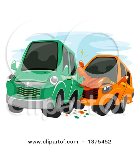 Clipart of Cars Crashing into Each Other - Royalty Free Vector Illustration by BNP Design Studio