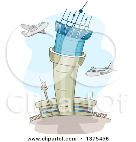 Clipart of a Control Tower and Airplanes at an Airport - Royalty Free Vector Illustration by BNP Design Studio