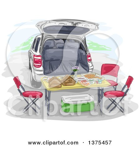 Clipart of a Tailgate Lunch Set up with a Table and Chairs Behind an SUV - Royalty Free Vector Illustration by BNP Design Studio