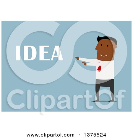 Clipart of a Flat Design Black Business Man with an Idea, on Blue - Royalty Free Vector Illustration by Vector Tradition SM