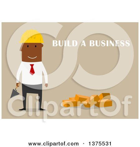 Clipart of a Flat Design Black Business Man Ready to Build a Company, on Tan - Royalty Free Vector Illustration by Vector Tradition SM