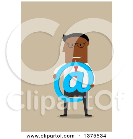 Clipart of a Flat Design Black Business Man Holding an Email Arobase at Symbol, on Tan - Royalty Free Vector Illustration by Vector Tradition SM