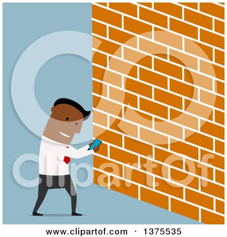 Clipart of a Flat Design Distracted Black Business Man Looking at a Smart Phone and About to Walk into a Wall, on Blue - Royalty Free Vector Illustration by Vector Tradition SM