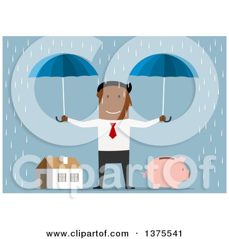 Clipart of a Flat Design Black Business Man Holding Umbrellas over a Piggy Bank and House, on Blue - Royalty Free Vector Illustration by Vector Tradition SM