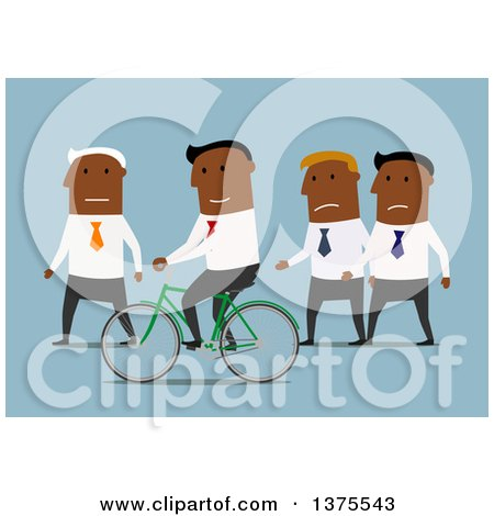 Clipart of a Flat Design Black Business Man Riding a Bicycle Around Colleagues, on Blue - Royalty Free Vector Illustration by Vector Tradition SM
