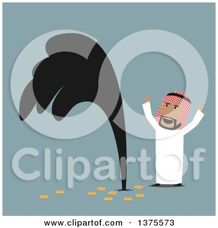 Clipart of a Flat Design Arabian Business Man Discovering Oil, on Blue - Royalty Free Vector Illustration by Vector Tradition SM