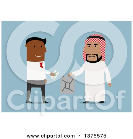 Clipart of a Flat Design Black Business Man Purchasing Oil from an Arabian Man, on Blue - Royalty Free Vector Illustration by Vector Tradition SM