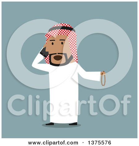 Clipart of a Flat Design Arabian Business Man Talking on a Cell Phone, on Blue - Royalty Free Vector Illustration by Vector Tradition SM