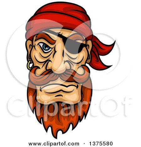 Clipart of a Tough Red Haired White Male Pirate with an Eye Patch, Beard and Mustache - Royalty Free Vector Illustration by Vector Tradition SM