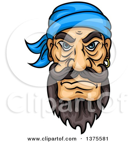 Clipart of a Tough Brunette White Male Pirate with a Beard and Mustache - Royalty Free Vector Illustration by Vector Tradition SM