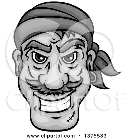 Clipart of a Grinning Grayscale Male Pirate Face - Royalty Free Vector Illustration by Vector Tradition SM