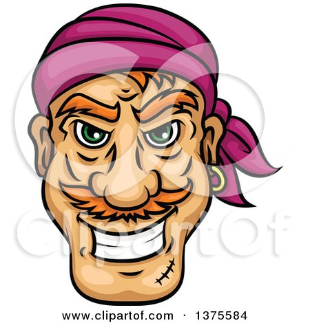 Clipart of a Grinning White Male Pirate Face - Royalty Free Vector Illustration by Vector Tradition SM