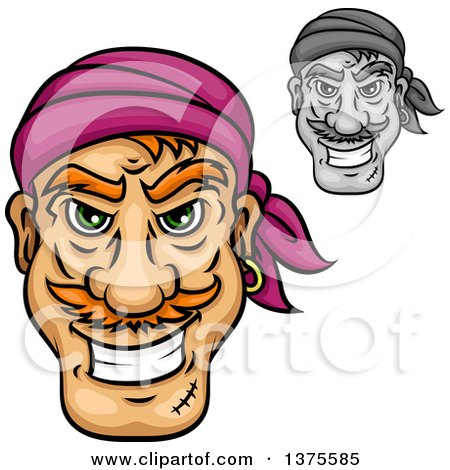 Clipart of Grinning Male Pirate Faces - Royalty Free Vector Illustration by Vector Tradition SM