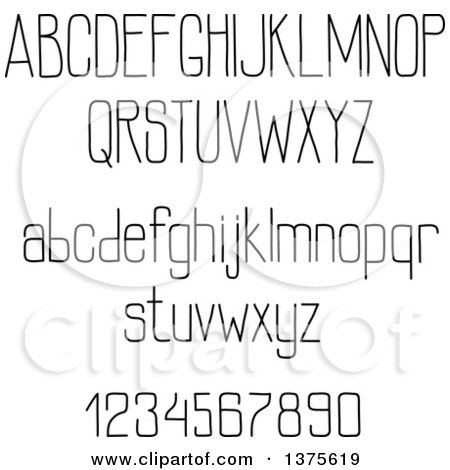 Clipart of Black and White Lowercase and Capital Letters and Numbers - Royalty Free Vector Illustration by Vector Tradition SM