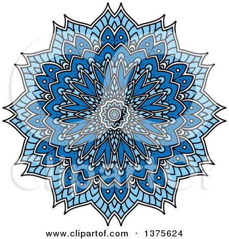 Clipart of a Blue and White Kaleidoscope Flower - Royalty Free Vector Illustration by Vector Tradition SM