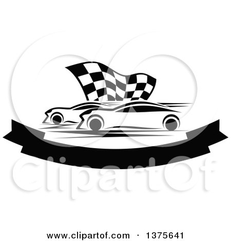 Clipart of Black and White Race Cars and a Checkered Flag over a Blank Banner - Royalty Free Vector Illustration by Vector Tradition SM