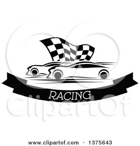 Clipart of Black and White Race Cars and a Checkered Flag over a Text Banner - Royalty Free Vector Illustration by Vector Tradition SM