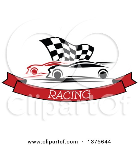 Clipart of Race Cars and a Checkered Flag over a Text Banner - Royalty Free Vector Illustration by Vector Tradition SM