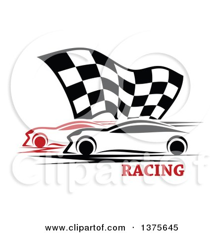 Clipart of Race Cars and a Checkered Flag over Text - Royalty Free Vector Illustration by Vector Tradition SM