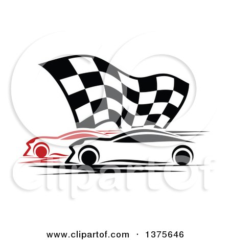 Clipart of Race Cars and a Checkered Flag - Royalty Free Vector Illustration by Vector Tradition SM