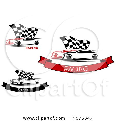 Clipart of Race Cars and Checkered Flags with Text - Royalty Free Vector Illustration by Vector Tradition SM