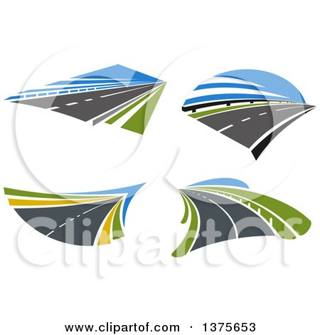 Clipart of Highway Roads - Royalty Free Vector Illustration by Vector Tradition SM