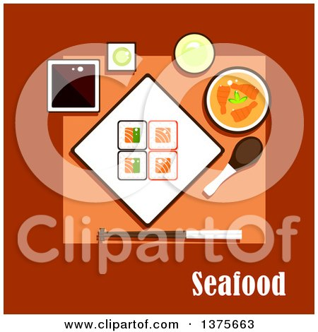 Flat Design Seafood Dinner with Square Sushi Rolls with Salmon and Avocado, Soy and Wasabi Sauces, Shrimp Curry Soup, Cup of Green Tea and Chopsticks with Soup Spoon Posters, Art Prints