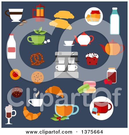 Clipart of a Flat Design Croissants, Cakes, Coffee Machine and Teapots, Milk Bottles, Cookies, Cups of Hot Beverages, Macaroons, Honey and Jam Jars, Pretzel on Blue - Royalty Free Vector Illustration by Vector Tradition SM
