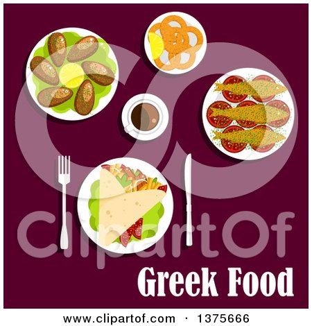 Clipart of Flat Design Gyro with Meat, Tomatoes, French Fries and Tzatziki Sauce Rolled into a Pita, Fried Squid, Mussels with Lemon, Grilled Sardines, Served on Tomatoes and Cup of Coffee - Royalty Free Vector Illustration by Vector Tradition SM