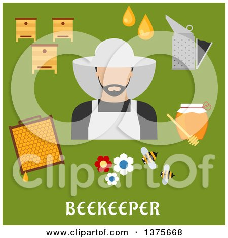 Clipart of a Flat Design Beekeeper and Accessories with Text on Green - Royalty Free Vector Illustration by Vector Tradition SM