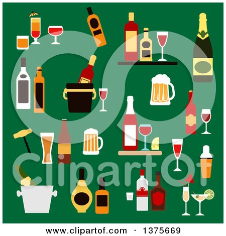 Clipart of Flat Design Drinks, Alcohol and Beverages with Wine Bottles, Champagne, Beer, Whiskey, Vodka, Rum, Gin and Liquor, Cocktails, Ice Buckets, Shaker and Corkscrew on Green - Royalty Free Vector Illustration by Vector Tradition SM