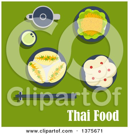 Clipart of a Flat Design Thai Meal of Lunch with Spicy Carrot Salad and Garlic Sauce, Pies with Vegetables, Puddings with Coconut Toppings, Teapot with Cup of Green Tea and Chopsticks on Rest on Green - Royalty Free Vector Illustration by Vector Tradition SM