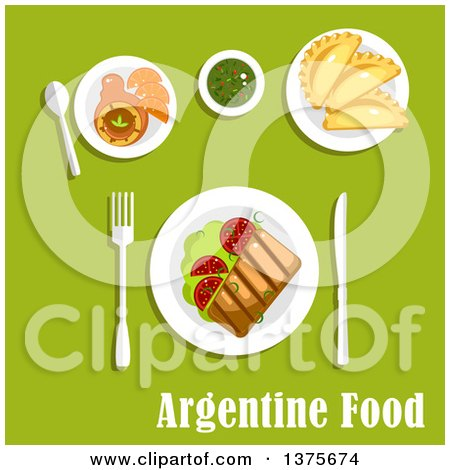 Clipart of a Flat Design Meal of Traditional Argentine Cuisine Icons with Asado, Served with Grilled Beef Steak and Tomatoes on Lettuce, Empanadas, Dulce De Leche Milk Candy with Fresh Oranges and Cup of Mate Tea - Royalty Free Vector Illustration by Vector Tradition SM