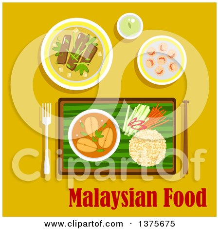 Flat Design Malaysian Cuisine Dinner with Nasi Lemak Rice with Cucumber, Carrot and Pepper Sticks and Fish Curry, Served on Banana Leaf, Beef Rendang, Shrimp with Sesame Seeds and Green Tea on Yellow Posters, Art Prints