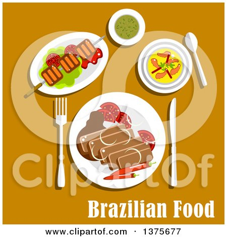 Flat Design Brazilian Cuisine with Feijoada Stew with Pork and Beans, Served with Fresh Tomatoes and Chilli Pepper, Grilled Picanha on Lettuce, Creamy Pumpkin Soup with Shrimps and Mate Tea Posters, Art Prints