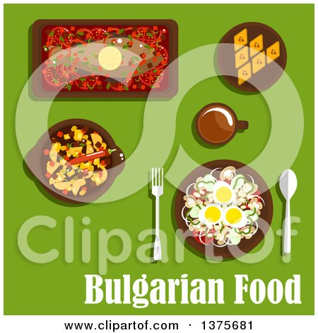 Clipart of Flat Design Bulgarian Cuisine with Vegetarian Salad with Tomato, Onion, Mushroom, Pepper, Haricot Beans and Eggs, Spicy Stew, Baked Carp with Vegetables, Baklava with Nuts and Drink - Royalty Free Vector Illustration by Vector Tradition SM