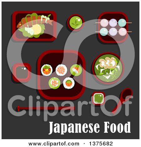Flat Design Japanese Meal of Sushi Rolls and Salmon, Avocado and Red Caviar, Soy and Wasabi Sauces, Grilled Fish with Lemon and Cucumber, Green Tea Soup with Mushrooms and Dango Dumpling with Drink Posters, Art Prints