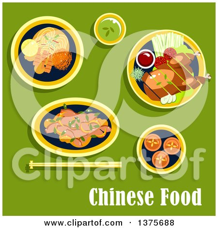 Clipart of Flat Design Chinese Food with Asian Dinner Including Beijing Duck, Served on Lettuce with Tomatoes, Cucumbers, Green Onion and Sauce, Noodles with Shrimps, Lemon and Vegetables, Salad with Beans, Egg Custard Tarts, Cup of Green Tea on Green | by Vector Tradition SM