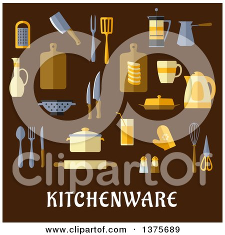 Clipart of Flat Design Kitchen Items over Text on Brown - Royalty Free Vector Illustration by Vector Tradition SM