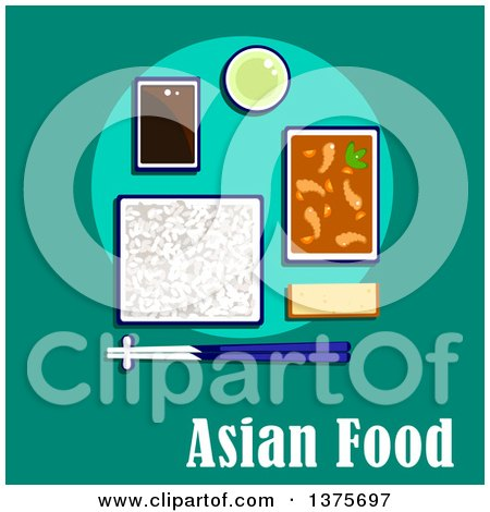Flat Design Korean Meal of Shrimp and Vegetables in Spicy Sauce, Rice with Chopsticks, Soy Dipping Sauce, Green Tea and Wheat Bread Posters, Art Prints