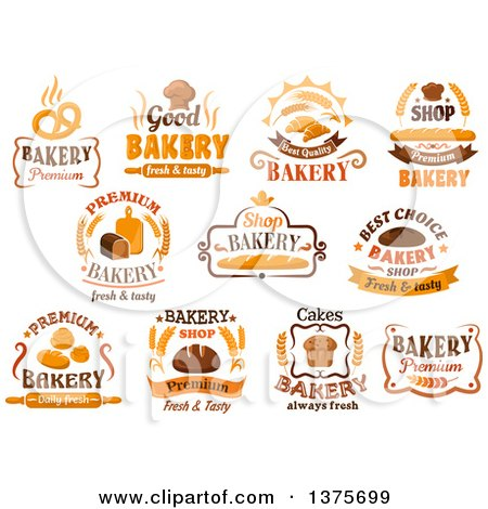 Clipart of Bakery Designs with Text - Royalty Free Vector Illustration by Vector Tradition SM