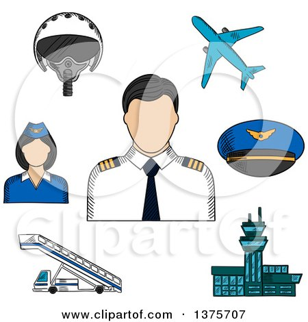 Clipart of a Sketched Captain in White Uniform, Helm, Ship ...
