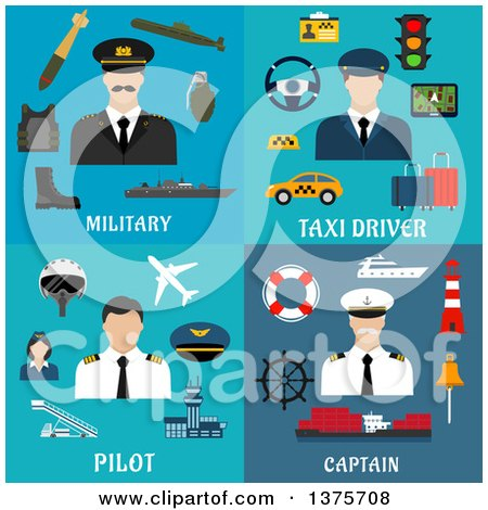 Clipart of Flat Military, Taxi Drover, Pilot and Captain Designs - Royalty Free Vector Illustration by Vector Tradition SM