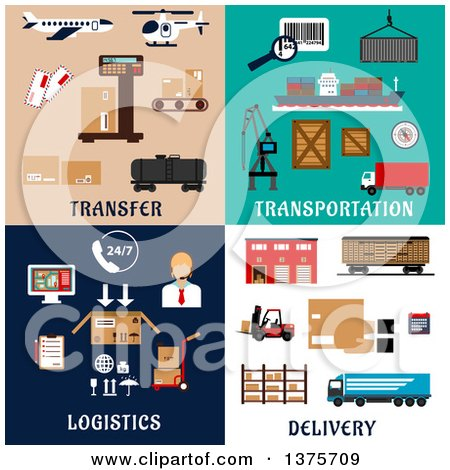 Clipart of Flat Logistics Designs - Royalty Free Vector Illustration by Vector Tradition SM