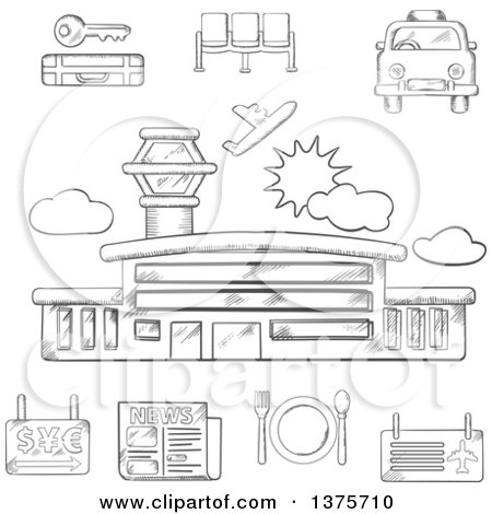Clipart of a Grayscale Sketched Airport, Taxi, Ticket, Waiting, Baggage, Currency Exchange and Service Icons - Royalty Free Vector Illustration by Vector Tradition SM