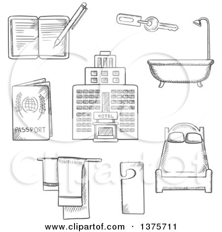 Clipart of Grayscale Sketched Hotel Service Icons As Bed, Room Key, Not Disturb Sign, Towels, Bathroom, Hotel Building, Passport and Notebook - Royalty Free Vector Illustration by Vector Tradition SM