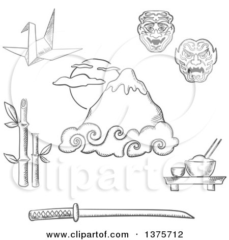Clipart of a Grayscale Sketched Ujiyama Mountain, Japanese Katana Samurai Sword, Bamboo Sprouts, Bowl with Rice and Chopsticks, Origami Crane and Traditional Theatrical Masks - Royalty Free Vector Illustration by Vector Tradition SM
