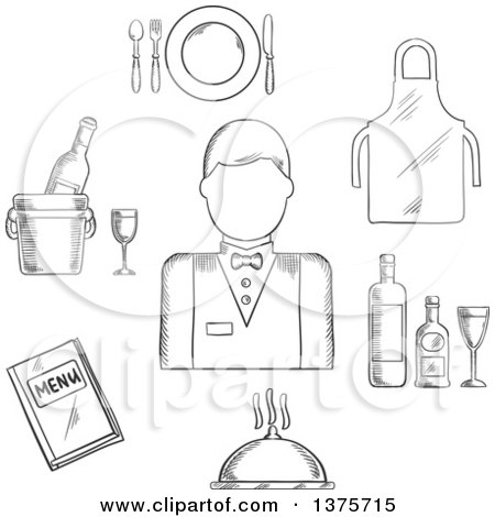 Clipart of a Black and White Sketched Waiter Man in Uniform, Bow Tie Encircled by Menu Book, Apron, Tray with Bottles and Glass, Champagne in Ice Bucket, Plate with Fork, Knife and Spoon, Silver Cloche - Royalty Free Vector Illustration by Vector Tradition SM