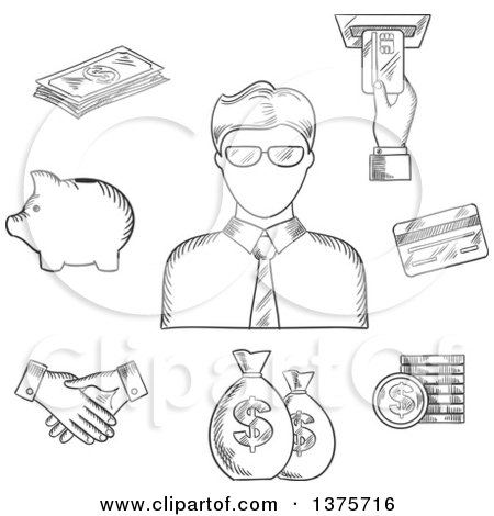 Clipart of a Black and White Sketched Clerk in Glasses and Financial Icons Such As Money Bags, Credit Card, Handshake, Piggy Bank, Dollar Coins and Bills, ATM with Hand - Royalty Free Vector Illustration by Vector Tradition SM