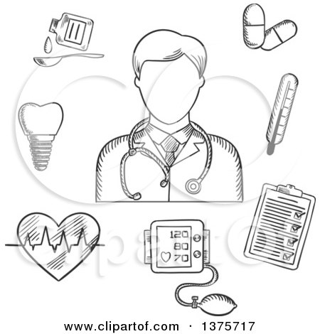 Clipart of a Black and White Sketched Doctor Thermometer, Tooth, Pills, Medication, Chart, Heartbeat and ECG - Royalty Free Vector Illustration by Vector Tradition SM